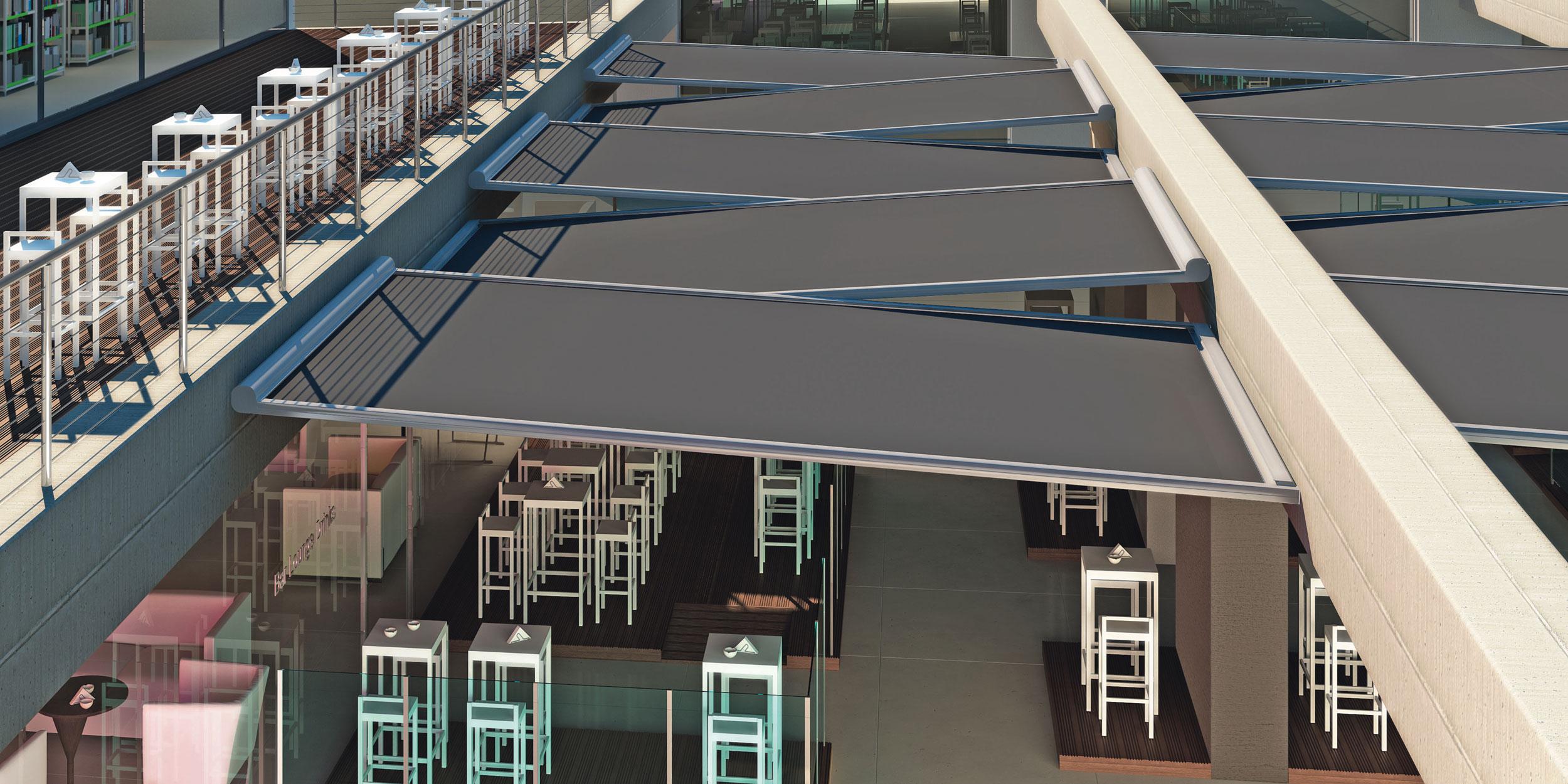 Tende Da Sole Resistenti Alla Pioggia.T30 Sistema Orizzontale Per Protezione Da Sole Vento Pioggia