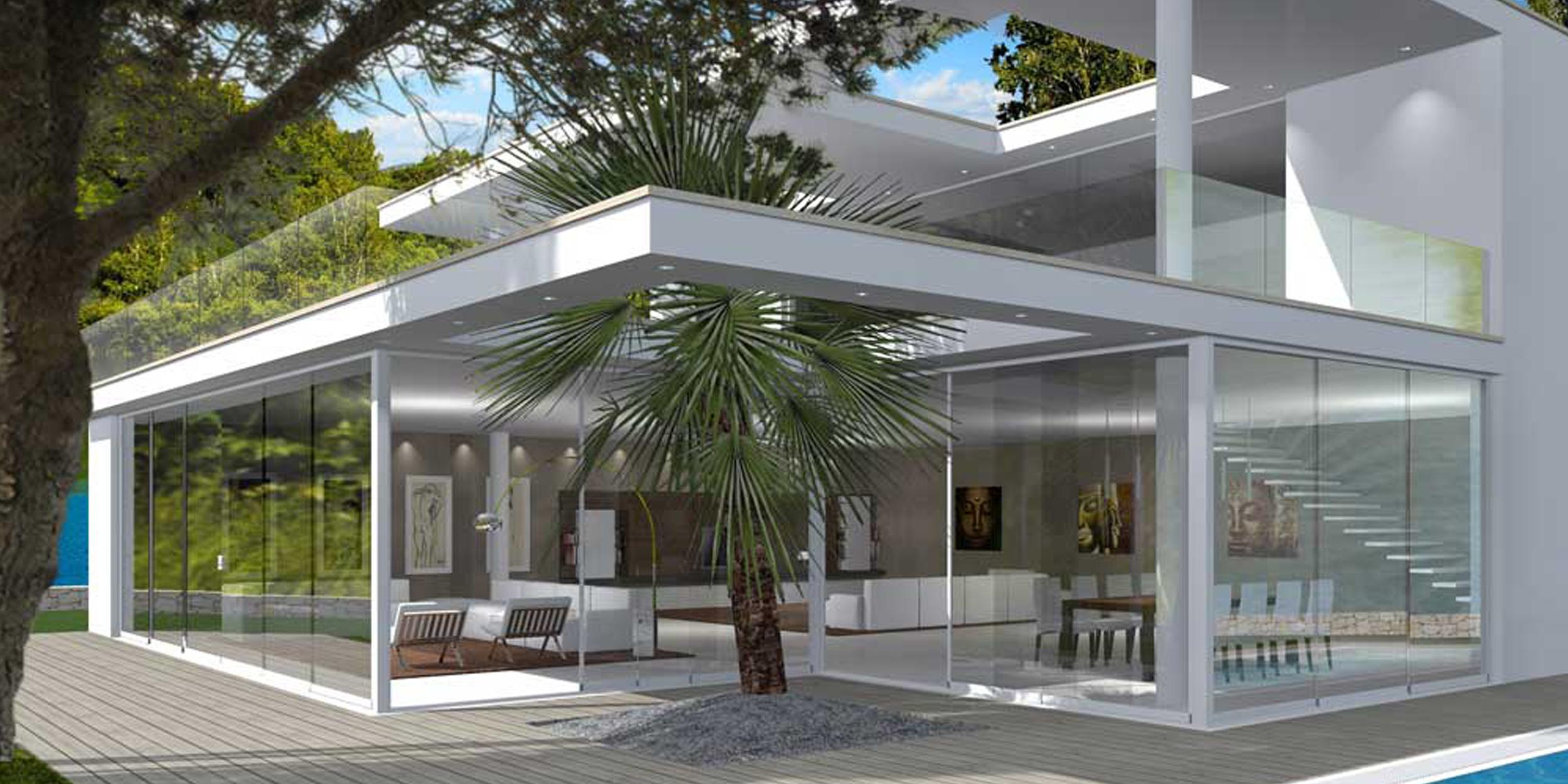 Vetrata scorrevole vetrata panoramica tutto vetro for Design moderni della casa di vetro