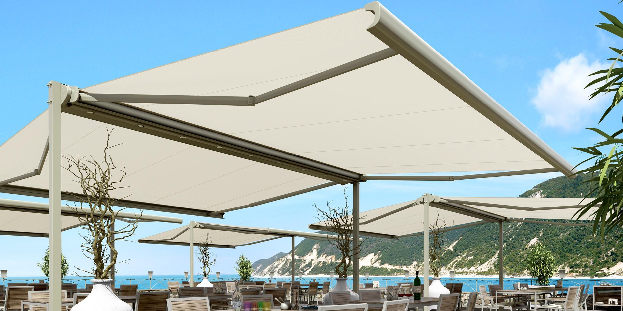 Boxmobil autoportante doppia tenda da sole a bracci estensibili autoportante con cassonetto - Tenda da sole ikea ...