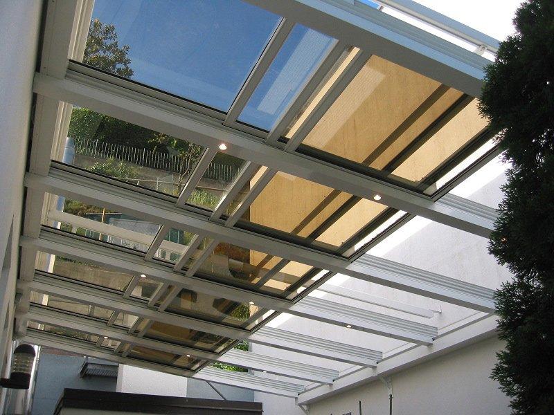 Copertura vetrata mobile sunroof la copertura che si for Mobili per terrazzi e giardini